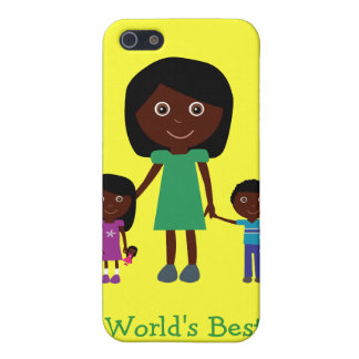 World's Best Mom Cute Ethnic Cartoon Characters iPhone SE/5/5s Case