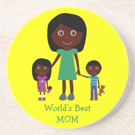 World's Best Mom Cute Ethnic Cartoon Characters Sandstone Coaster