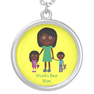 World's Best Mom Cute Ethnic Cartoon Characters Silver Plated Necklace