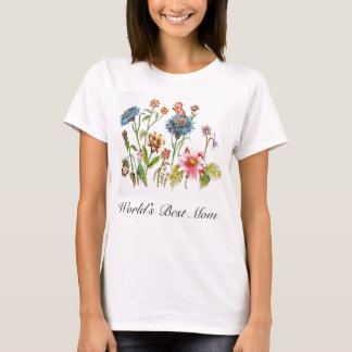 World's Best Mom Flowers Watercolor Art T-Shirt