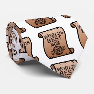 World's Best Mom Funny Certificate Neck Tie
