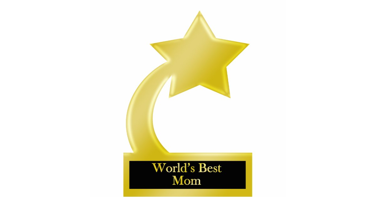World S Best Mom Gold Star Award Trophy Statuette
