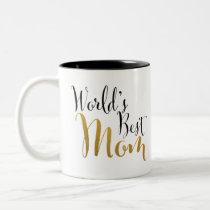 World's Best Mom (Gold) Two-Tone Coffee Mug