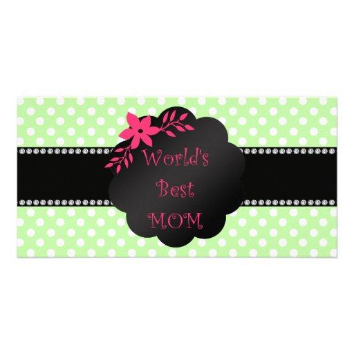 World's best mom green polka dots custom photo card