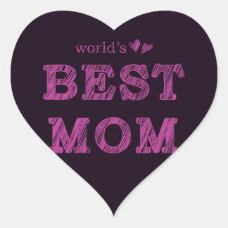 World's Best Mom Heart Sticker