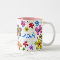 World's Best Mom Illustrated Two-Tone Coffee Mug