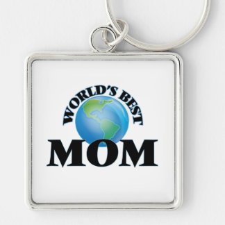 World's Best Mom Silver-Colored Square Keychain