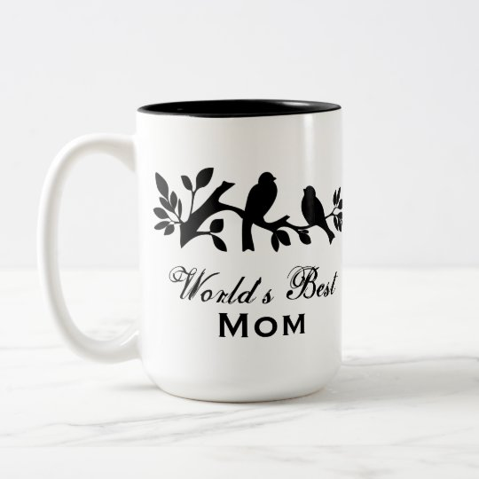 World's Best Mom Mother's Day Bird Branch graphic Two-Tone Coffee Mug