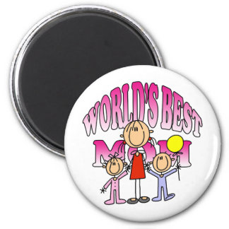 Worlds Best Mom Mothers Day Gift 2 Inch Round Magnet
