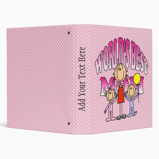 Worlds Best Mom Mothers Day Gift 3 Ring Binder