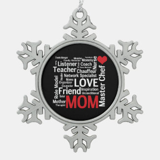 World's Best Mom - Mother's Day or Birthday Snowflake Pewter Christmas Ornament