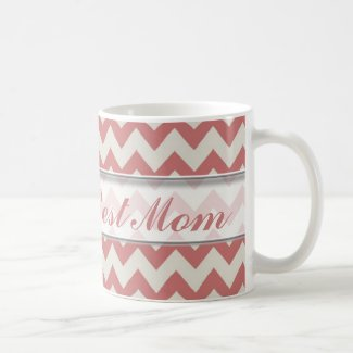 World's Best Mom Mug|Brown Chevron Pattern