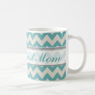 World's Best Mom Mug|Jade Chevron Pattern