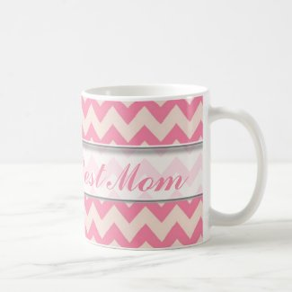 World's Best Mom Mug|Pink Chevron Pattern