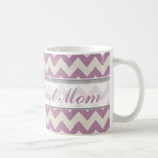 World's Best Mom Mug|Purple Chevron Pattern