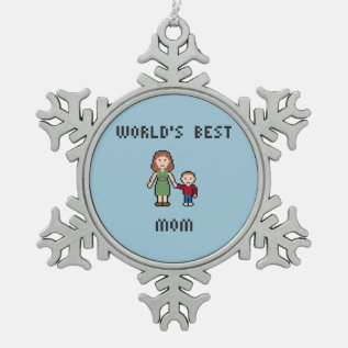 World's Best Mom Pewter Snowflake Ornament at Zazzle