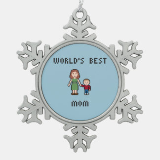 World's Best Mom Pewter Snowflake Ornament