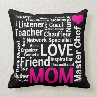 World's Best Mom Pink and Black throwpillow