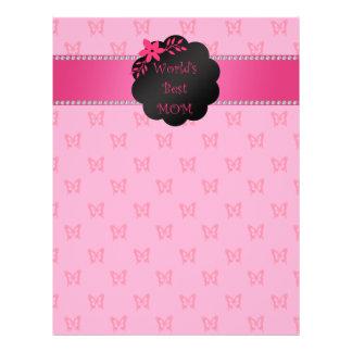 World's best mom pink butterflies personalized flyer
