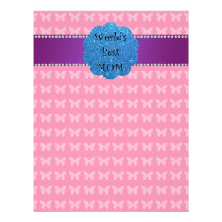 World's best mom pink butterflies full color flyer