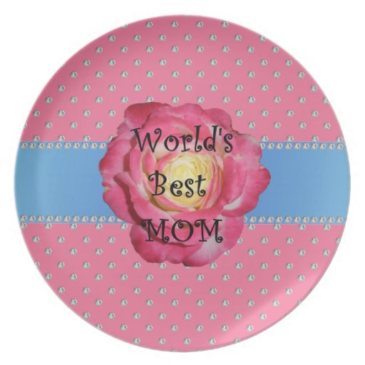 World's best mom pink diamonds party plate
