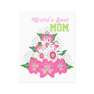 World's Best Mom Pink Floral Bouquet Canvas Print