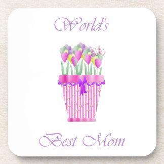 World's Best Mom (pink flowers) Coaster