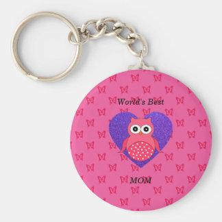 Worlds best mom pink owl basic round button keychain