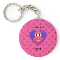 Worlds best mom pink owl keychain
