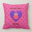 Worlds best mom pink owl pillows