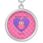 Worlds best mom pink owl silver plated necklace