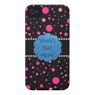 World's best mom pink polka dots iPhone 4 case
