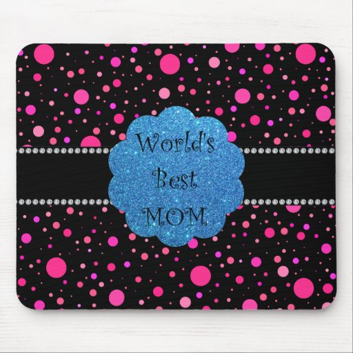 World's best mom pink polka dots mouse pad