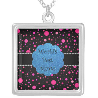 World's best mom pink polka dots silver plated necklace