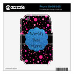 World's best mom pink polka dots skin for iPhone 3