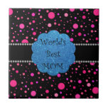 World's best mom pink polka dots tiles