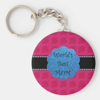 World's best mom pink roses keychain
