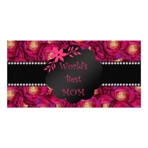 World's best mom pink roses picture card