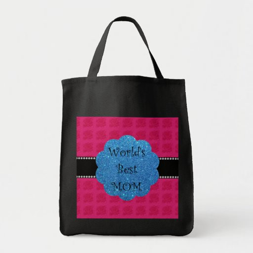 World's best mom pink roses tote bags
