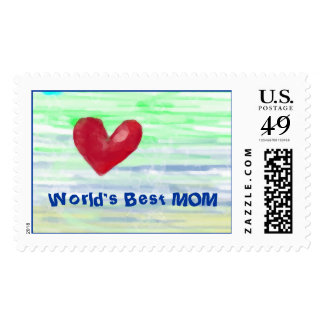 World's Best Mom Postage Stamps