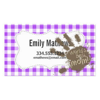 World's Best Mom; Purple Checkered Gingham Business Card