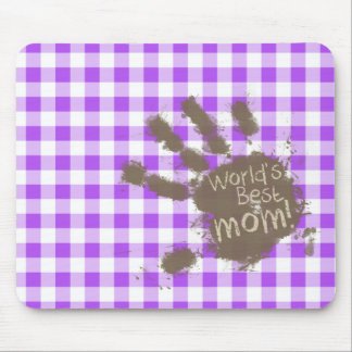 World's Best Mom; Purple Checkered Gingham Mouse Pad