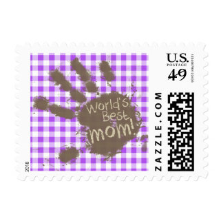 World's Best Mom; Purple Checkered Gingham Postage Stamps