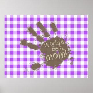 World's Best Mom; Purple Checkered Gingham Print