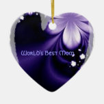 Worlds best mom purple flower heart ornament