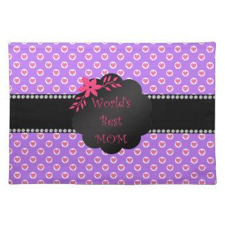 World's best mom purple heart polka dots place mats