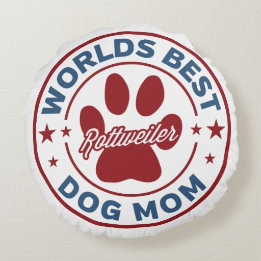 Worlds Best Mom Rottweiler Paw Print Round Pillow
