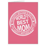 World's Best mom rubber stamp effect Greeting Cards