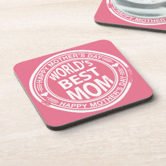 World's Best mom rubber stamp effect Coaster