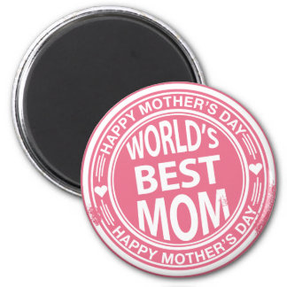 World's Best mom rubber stamp effect Magnet